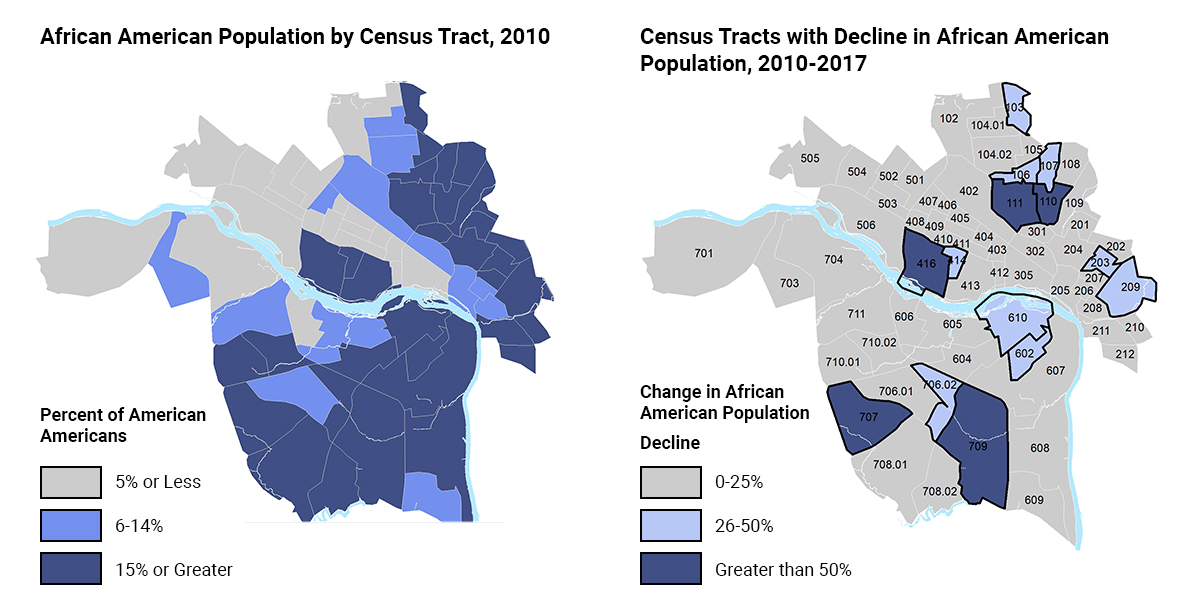 Two blue maps of richmond side by side.