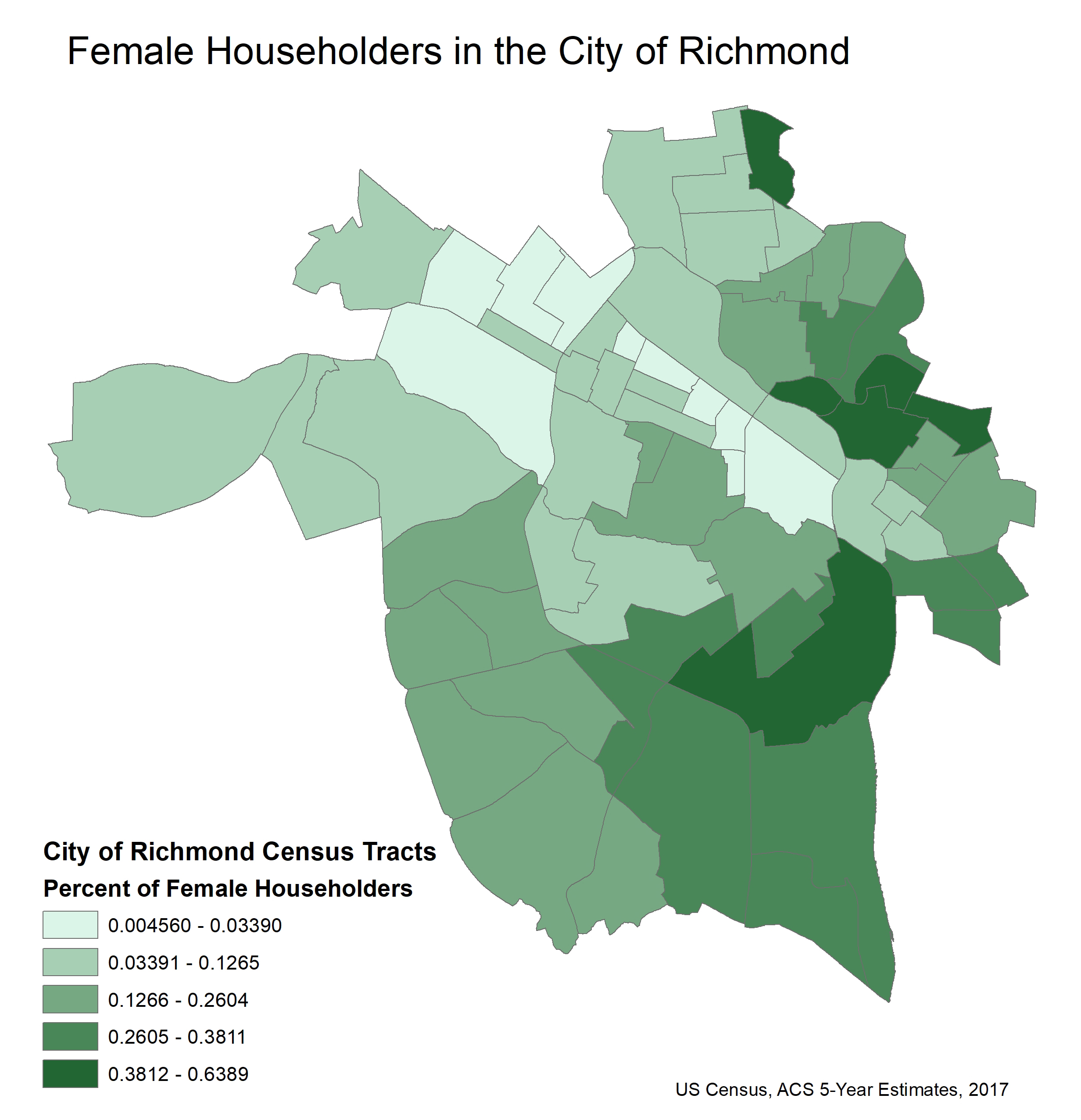 Map of Richmond displaying the percentage of female householders by census tract. The higher the percentage, the darker the shade of green, with darkest areas concentrated in the eastern side of Richmond.